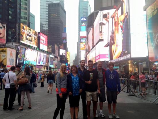 Family shot in Times Square