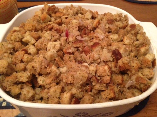 Stuffing is one of my favorite parts of Thanksgiving. We made an entire bag which apparently is for a family of 6...oh well.