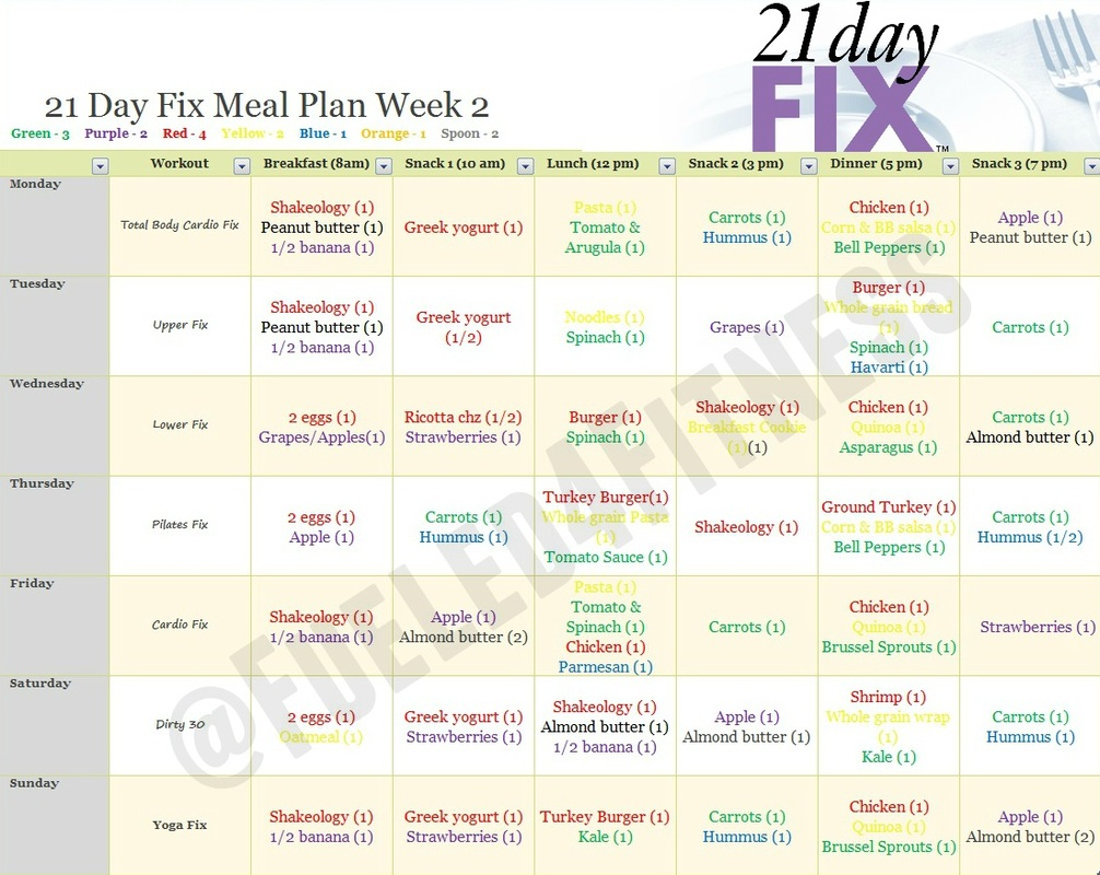 21 Day Fix Sample Meal Plans - Fueled For Fitness