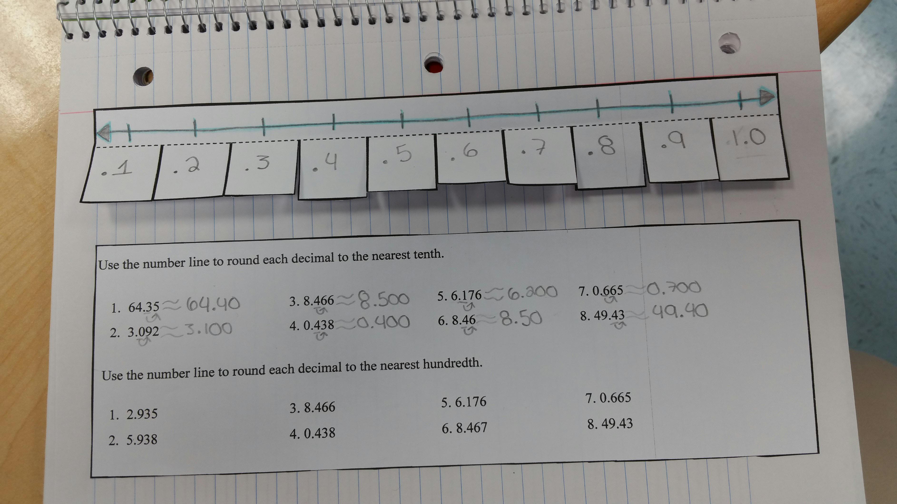 Rounding Decimals Interactive Notebook Insert