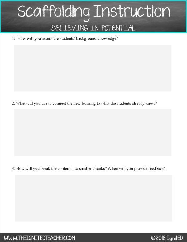 Scaffolding Lesson Plan Template