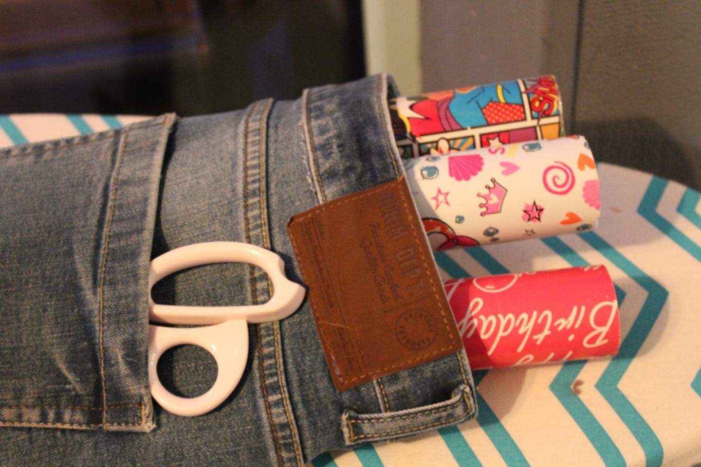Recycled Denim Wrapping Paper Storage Bag