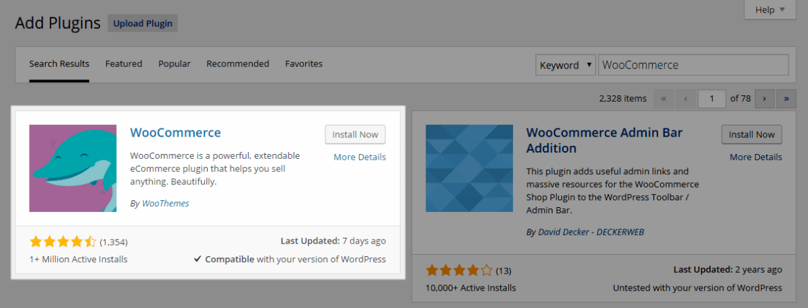 WordPress E-Commerce Install Now
