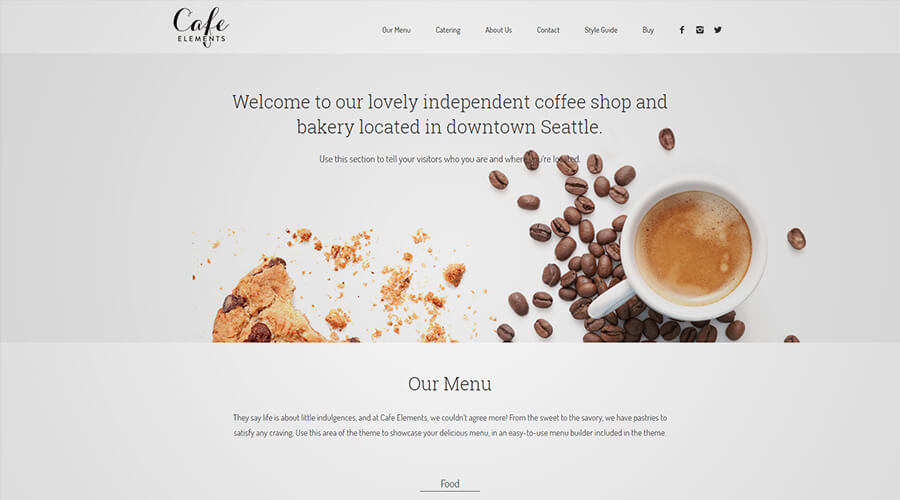 WordPress One Page Themes: Cafe Elements