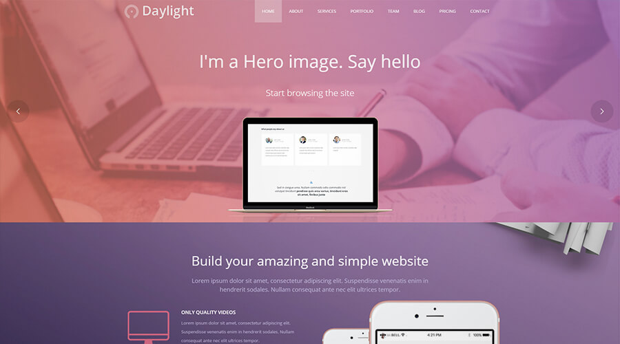 WordPress One Page Themes: Daylight