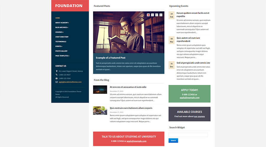 WordPress Education Themes: Foundation