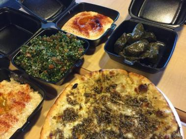Babaganouj, tabouli, hummus, grapeleaves at Fufu's in Riverside.