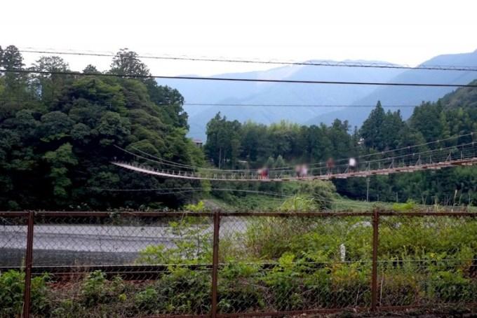 塩郷の吊り橋|県道側から