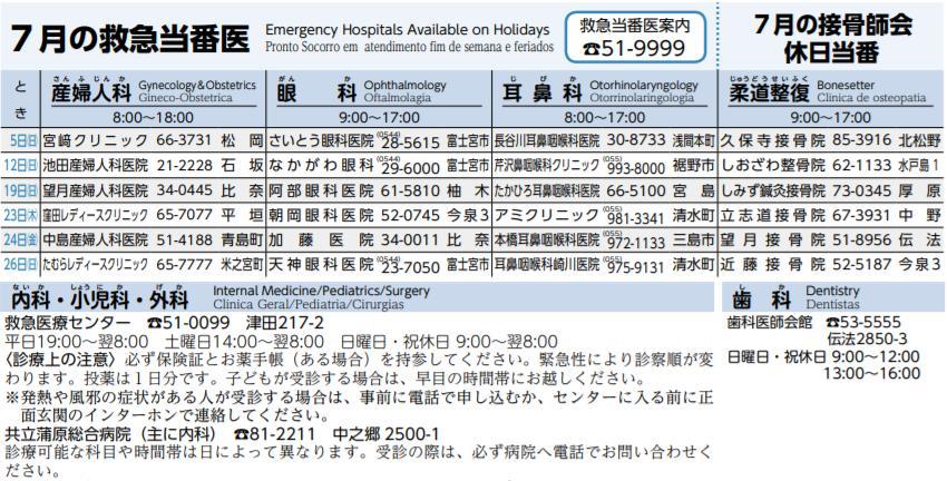 7月の救急当番医(PCではクイックで拡大、スマホではそのまま拡大)