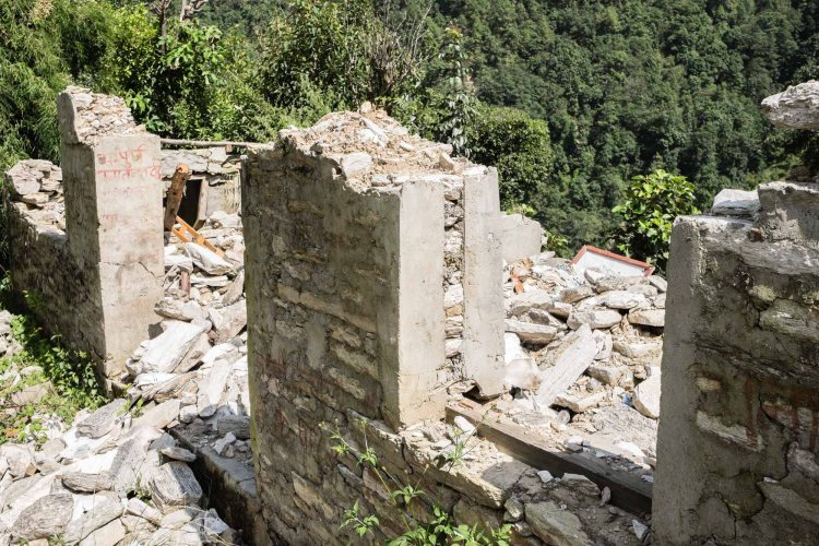 Collapsed health post in Lakuri Danda, Dolakha, Nepal. Dolakha district is one of the hardest hit April 25th Nepal earthquake disaster zones in Nepal.