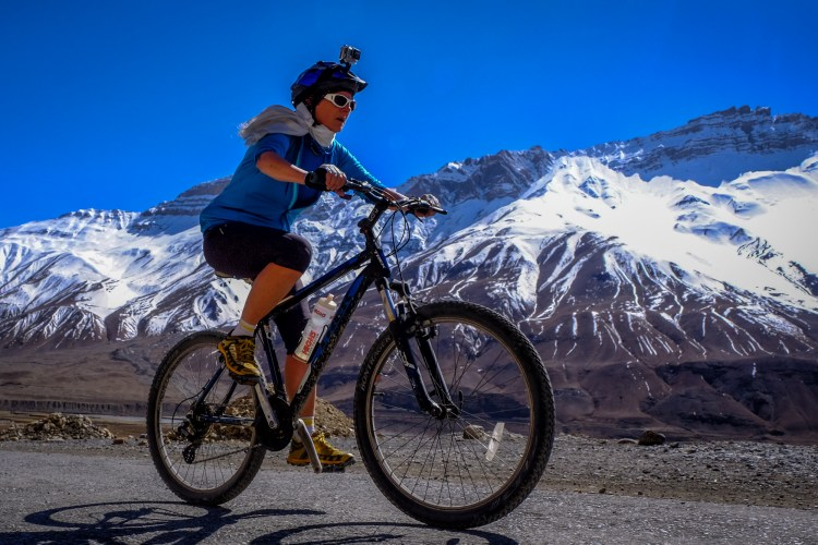 Spiti Valley, Himachal Pradesh, India. Jo finishing a 26 km cycle ride which started at 3940 m, descended to 3413 m, then climbed back to 3627 m. Quite an achievement at that altitude.