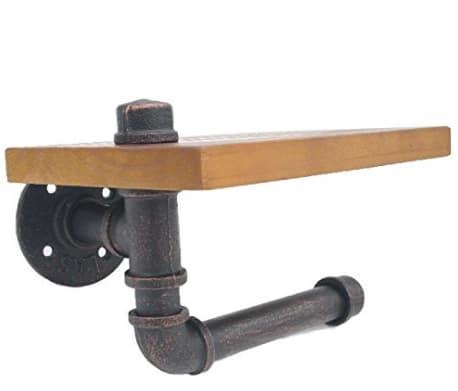 棚付 パイプ型 トイレット ペーパー ホルダー (茶色)