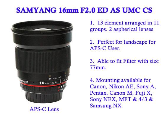 Samyang 16mm f/2 ED AS UMC CS