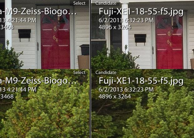 Fuji X-E1 + Fujinon 18-55m frente a Leica M9 + Zeiss 35mm f/2 ZM Biogon