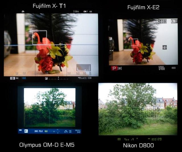 Visor de la Fuji X-T1 versus Nikon D800