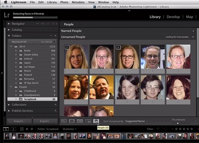 Reconocimiento de rostros de Lightroom CC