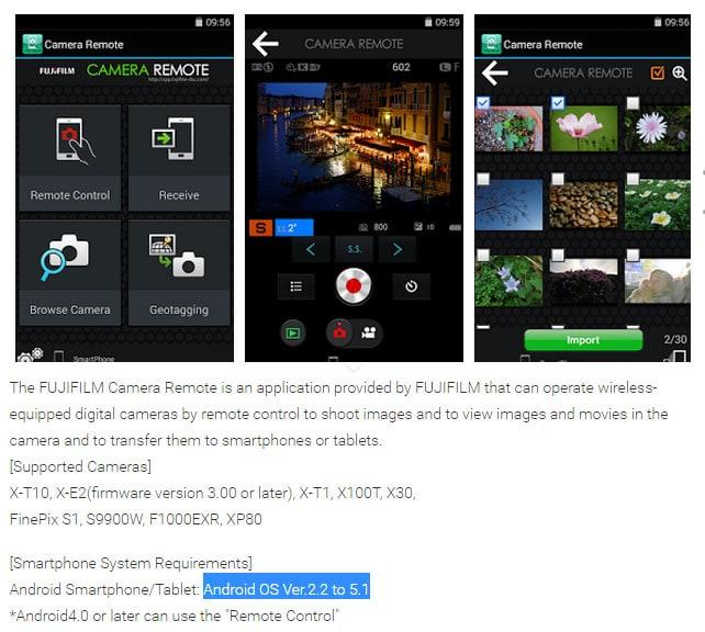 Fujifilm Camera Remote Android 5.0