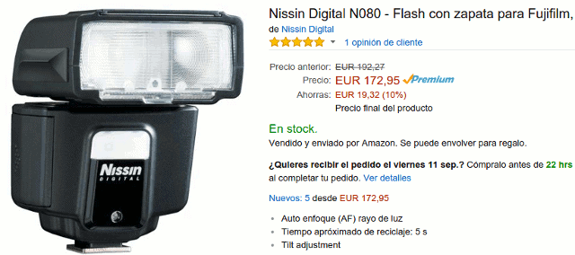 Nissin i40 para Fujifilm en Amazon