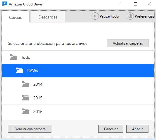 La aplicación de carga/descarga de archivos a Amazon Cloud Drive