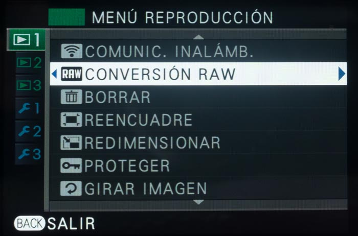 Menú conversión RAW en la Fuji X-E2S.