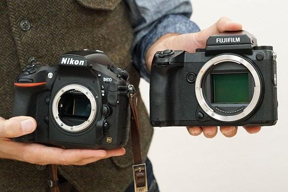 Comparativa de tamaño tre formato medio y full frame.