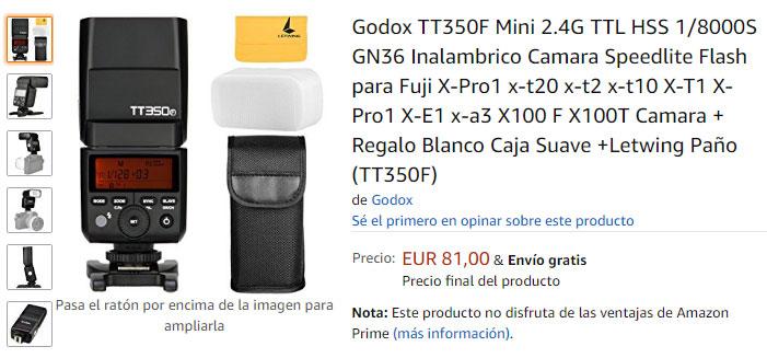 Godox TT350F en stock en Amazon.