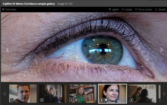 Captura de pantalla de un detalle al 100% del Fujinon XF 80mm F2.8 macro de la galería de DPreview.