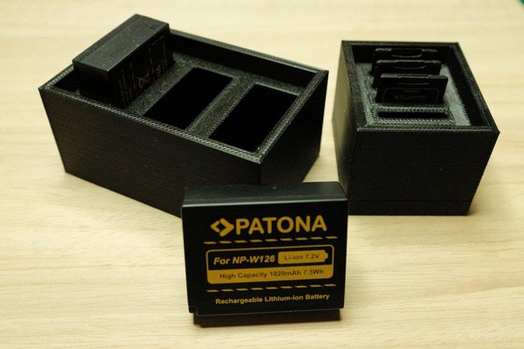 Cajas 3D imprimibles para tarjetas SD y baterías (NP-W126, NP-95) por Miguel Ángel López