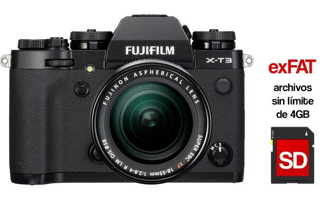La Fujifilm X-T3 soportará sistema de archivos exFAT.