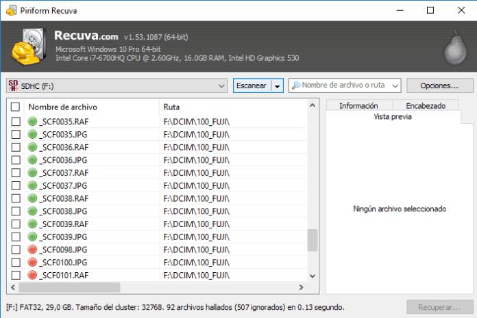 Recuva, programa de recuperación de archivos borrados.