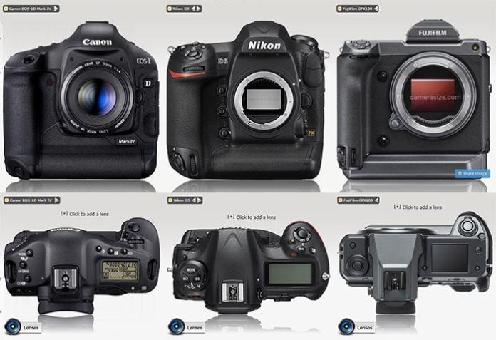 Fuji GFX 100 frente a Nikon D5 y Canon 1D Mark IV.