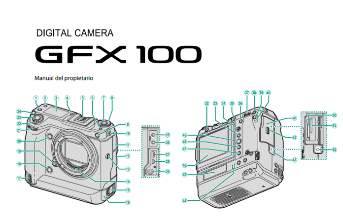 Manual de la Fuji GFX 100 en español.