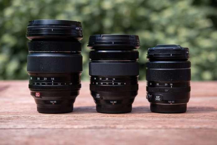 El XF 16-80mm F4, fentre el XF 16-55mm F2.8 y el XF 18-55mm F2.8-4.
