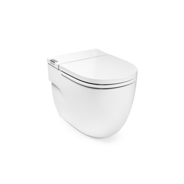 Roca Meridian IN-TANK – Floor standing toilet with integrated tank within the unit. Includes seat and cover. Needs power