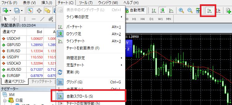 MT4 自動スクロール