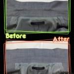 サマージャケットのえり変色の復元