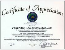 2001 NAVFAC Certificate of Appreciation