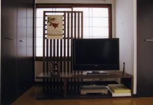 ブラックウォールナットの特注テレビボード