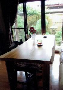 欅一枚板リビングテーブル兼机