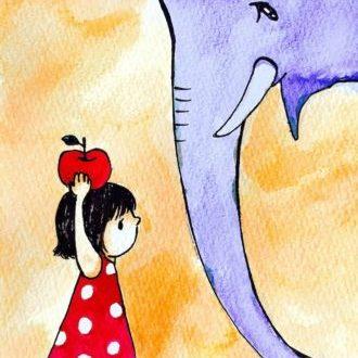 象と女の子