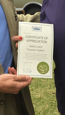 Certificate of appreciation awarded to Virginia Palmer from the Fulbright Association