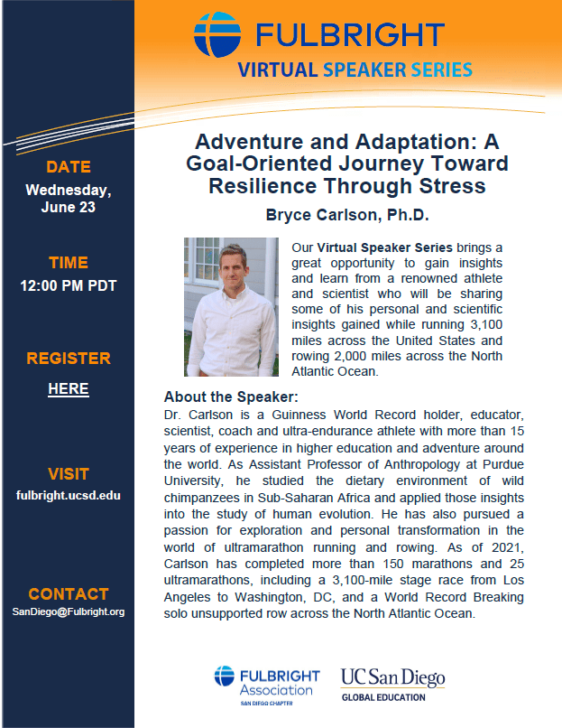 San Diego Speaker Series – Adventure and Adaptation: A Goal-Oriented Journey Toward Resilience Through Stress with Bryce Carlson, Ph.D.
