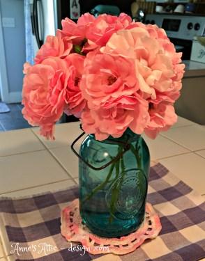ball jar of roses
