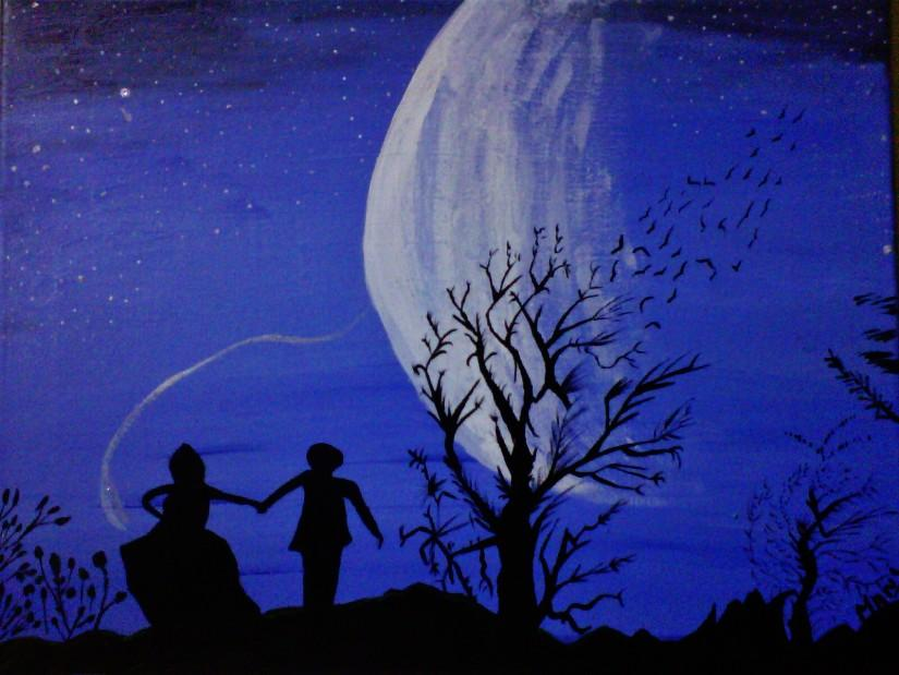 Midnight December- An acrylic painting by Manisha Bhatia