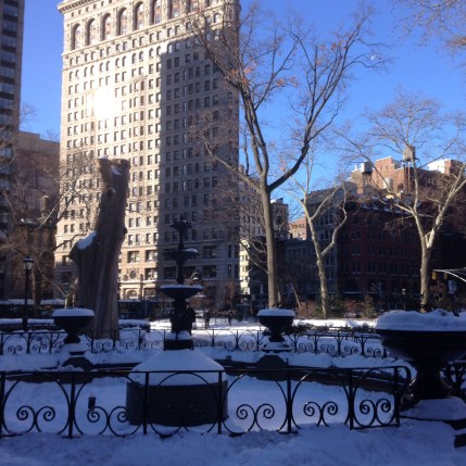 Snowy Madison Square Park in NYC