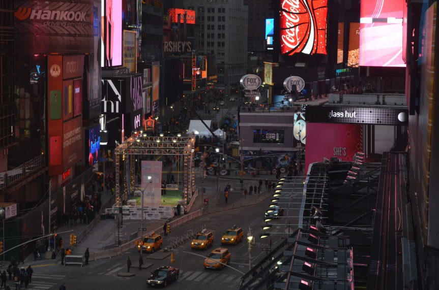 Overlooking Super Bowl Boulevard in Times Square