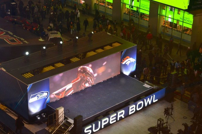 Supe Bowl Stage at Night