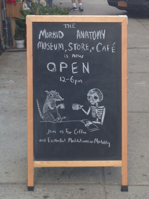 Coffee Sign At the Morbid Anatomy Museum In Gowanus Brooklyn