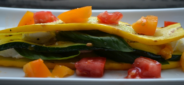 Zucchini Caprese Salad with Heirloom Tomatoes