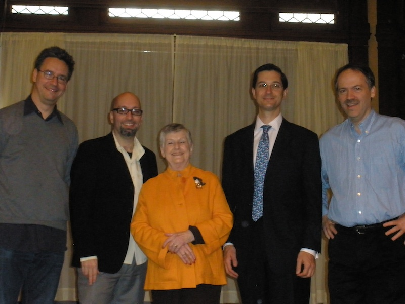 L to R: Greg Pliska, David Ellis Dickerson, Gloria Rosenthal, Jesse Sheidlower, Will Shortz